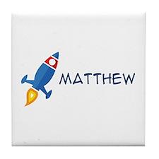 Matthew Rocket Ship Tile Coaster