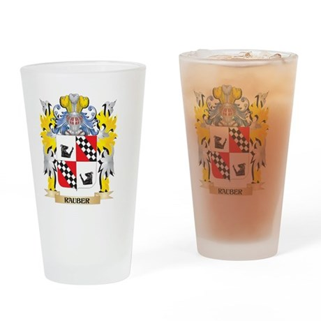 Rauber Family Crest - Coat of Arms Drinking Glass