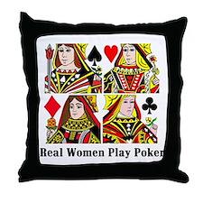 Real Women Play Poker Throw Pillow