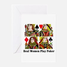 Real Women Play Poker Greeting Cards (Pk of 10