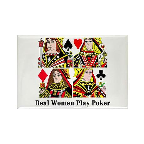 Real Women Play Poker Rectangle Magnet