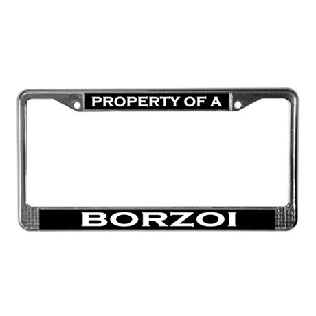 Property of Borzoi License Plate Frame