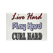 Live Hard, Play Hard, Curl Ha Rectangle Magnet