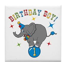 Circus Elelphant 1st Birthday Boy Tile Coaster