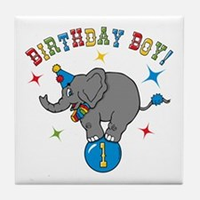 Circus Elelphant 1st Birthday Boy Tile Coaster