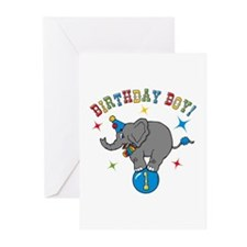 Circus Elelphant 1st Birthday Boy Greeting Cards (