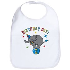 Circus Elephant 2nd Birthday Boy Bib