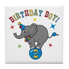 Circus Elephant 2nd Birthday Boy Tile Coaster