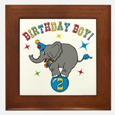Circus Elephant 2nd Birthday Boy Framed Tile