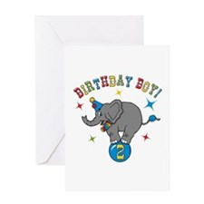 Circus Elephant 2nd Birthday Boy Greeting Card