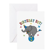Circus Elephant 2nd Birthday Boy Greeting Cards (P