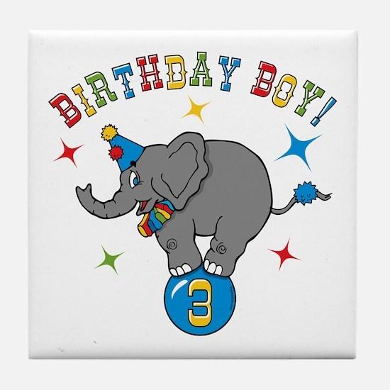 Circus Elelphant 3rd Birthday Boy Tile Coaster