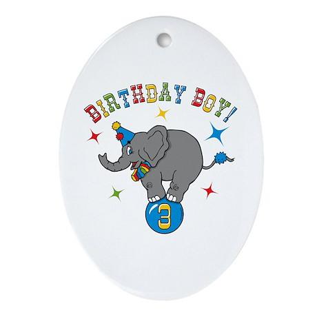 Circus Elelphant 3rd Birthday Boy Ornament (Oval)