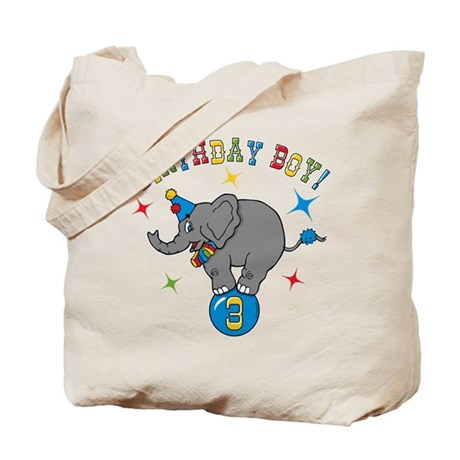 Circus Elelphant 3rd Birthday Boy Tote Bag