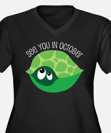 October Due Date Belly Print Turtle Plus Size T-Sh