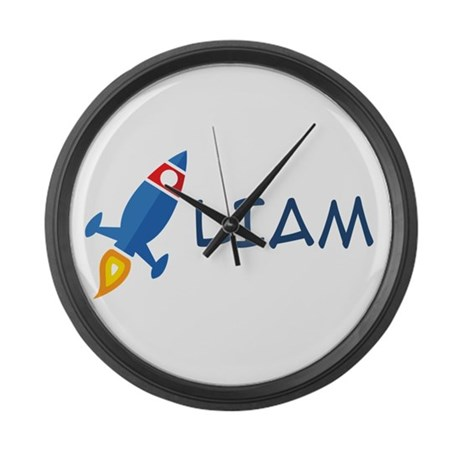 Liam Rocket Ship Large Wall Clock