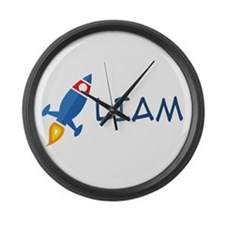 Liam Rocket Ship Large Wall Clock