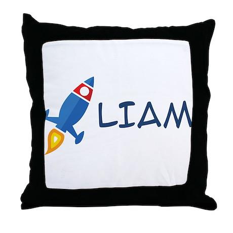 Liam Rocket Ship Throw Pillow