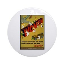 Women Power Now Poster Art Ornament (Round)