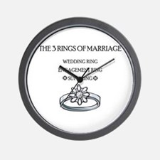 3 Rings of Marriage Wedding Gift Wall Clock