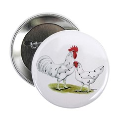 """California White Rooster & He 2.25"""" Butto"""