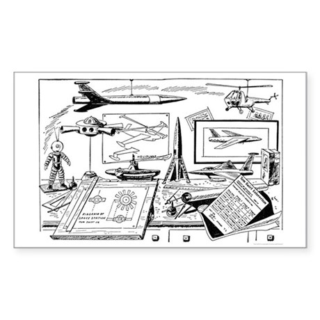 Tom Swift Jr Drawing Board Sticker (Rectangle)