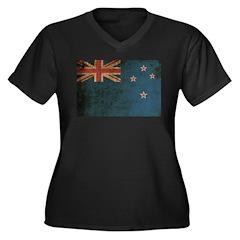 Vintage New Zealand Women's Plus Size V-Neck Dark