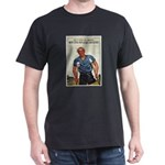 Patriotic Wounded Soldier (Front) Black T-Shirt