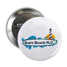"""Kure Beach NC - Lighthouse Design 2.25"""" Button"""
