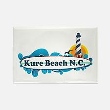 Kure Beach NC - Lighthouse Design Rectangle Magnet