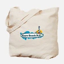 Kure Beach NC - Lighthouse Design Tote Bag