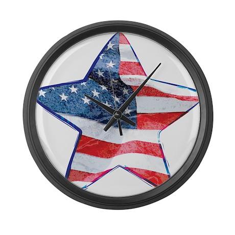 American Flag - Star Large Wall Clock
