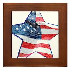 American Flag - Star Framed Tile