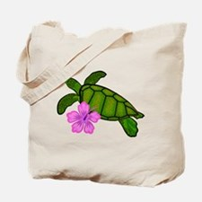 Colored Sea Turtle Hibiscus Tote Bag