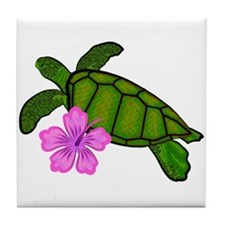 Colored Sea Turtle Hibiscus Tile Coaster