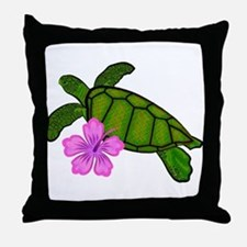 Colored Sea Turtle Hibiscus Throw Pillow