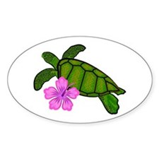 Colored Sea Turtle Hibiscus Decal