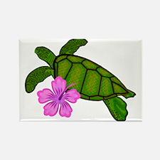 Colored Sea Turtle Hibiscus Rectangle Magnet (10 p