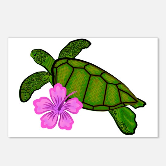 Colored Sea Turtle Hibiscus Postcards (Package of
