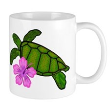 Colored Sea Turtle Hibiscus Mug