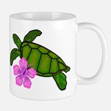Colored Sea Turtle Hibiscus Mug