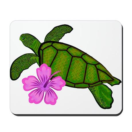 Colored Sea Turtle Hibiscus Mousepad