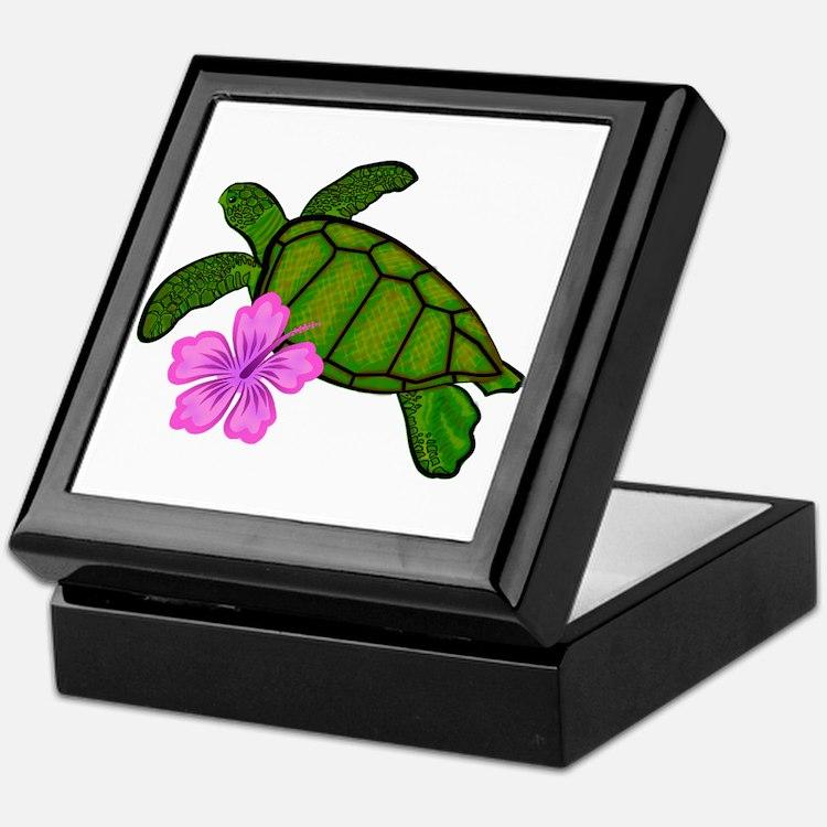Colored Sea Turtle Hibiscus Keepsake Box