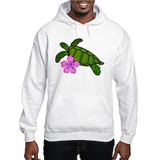 Colored Sea Turtle Hibiscus Hoodie