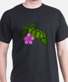 Colored Sea Turtle Hibiscus T-Shirt