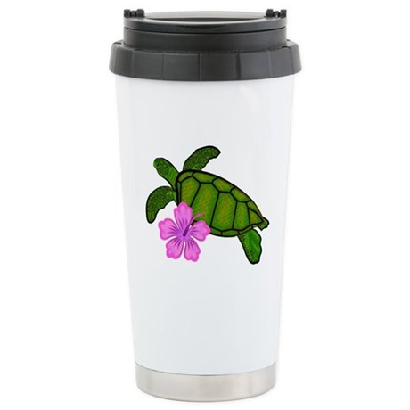 Colored Sea Turtle Hibiscus Stainless Steel Travel