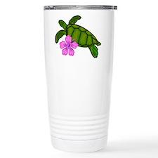 Colored Sea Turtle Hibiscus Travel Mug