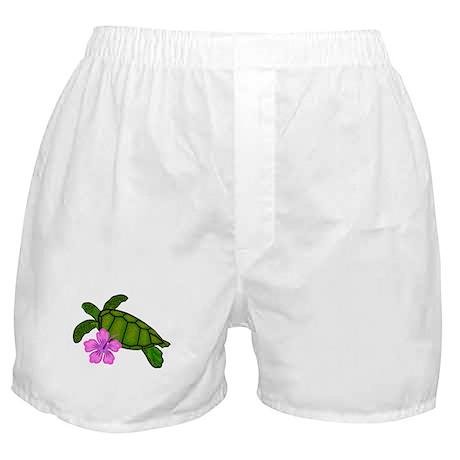 Colored Sea Turtle Hibiscus Boxer Shorts