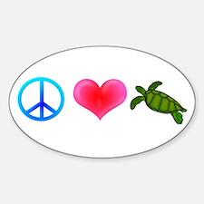 Peace Love Sea Turtles Sticker (Oval)