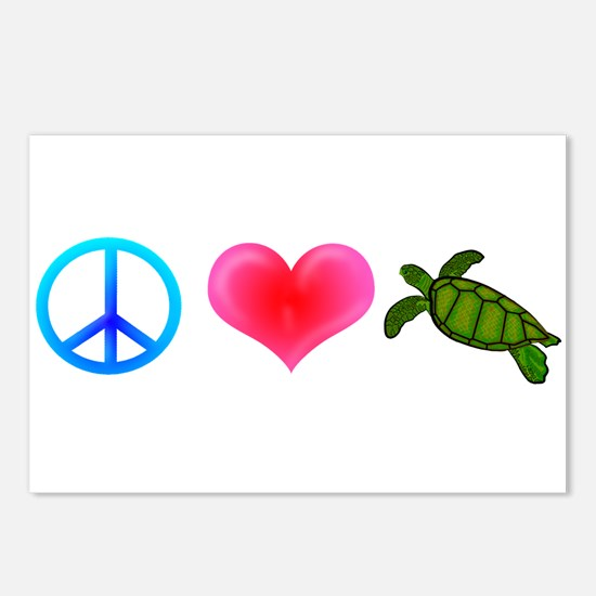 Peace Love Sea Turtles Postcards (Package of 8)